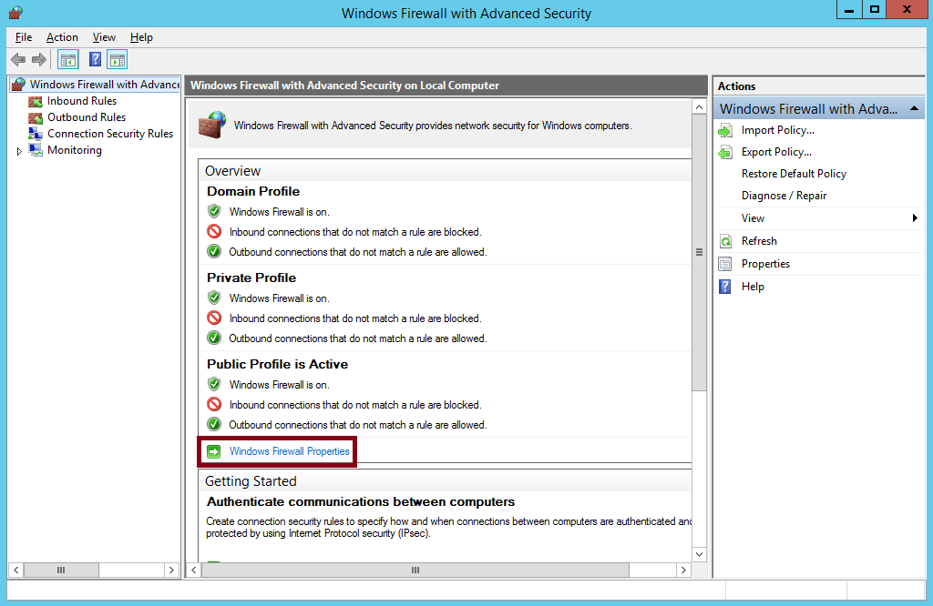 How to Disable Firewall in Windows Server 2012 R2